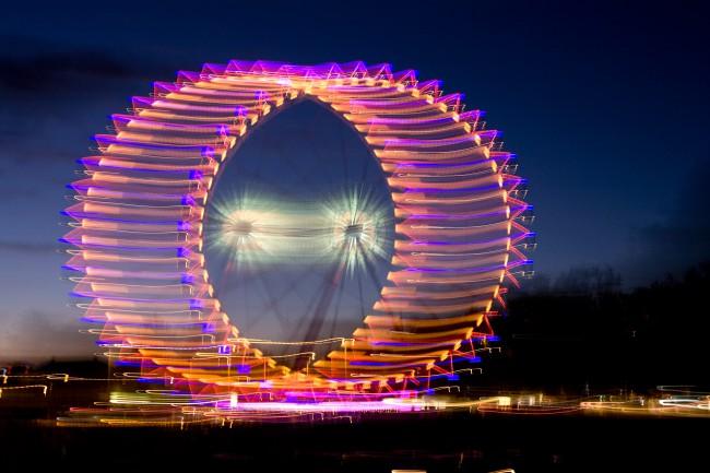 Riesenrad bei Nacht, Zürich