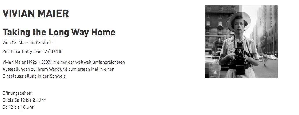 Ausstellungsankündigung Vivian Maier