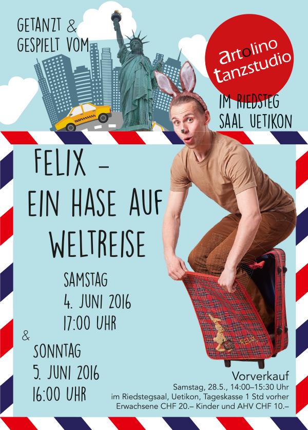 Flyer/Postkarte zur Aufführung: Felix – ein Hase auf Weltreise