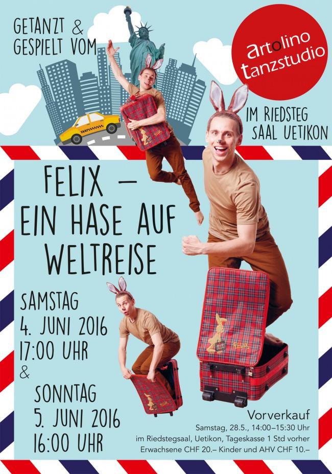 Weltplakat zur Aufführung vom Tanz-Theater: Felix – ein Hase auf Weltreise